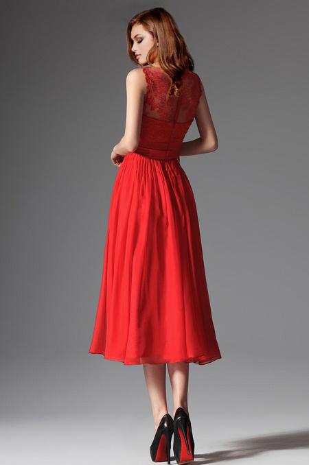 b04145402f rochie cocktail midi rosie voal dantela rochie de soacra 5