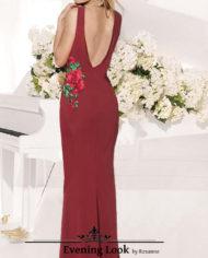 rochie burgundy crep broderie cu aplicatii sposa dell amoe rochie de nunta rochie de craciun rochie de revelion 281120172 spate evening