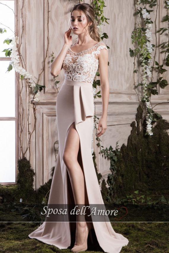 rochie de seara crem nude crepe broderie cristale ed-008