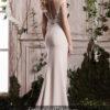 rochie de seara crem nude crepe broderie cristale ed-008 m