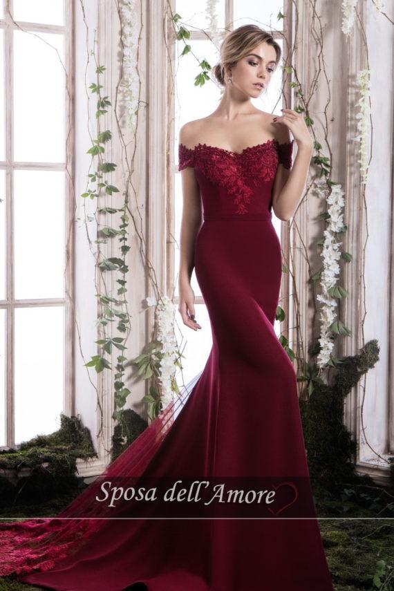rochie de seara magenta rochie de bal rochie de nunta rochie eleganta 2018 crepe broderie ed006