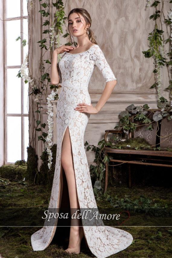 rochie de seara mireasa dantela sampanie culoarea pielii ed 012 sposa dell amore sirena 2018