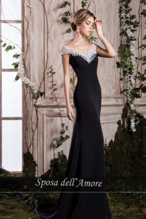 rochie de seara neagra trena rochie de nunta rochie de bal 2018 crepe broderie cristale ed-007 L