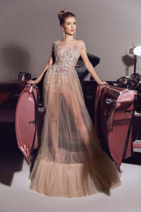 rochie de seara sexi tul broderie nude crem sposa v1809