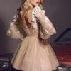 rochie cocktail rochie cununie civila pretioasa dantela 3D v18-14 sposa dell amore 2018 2