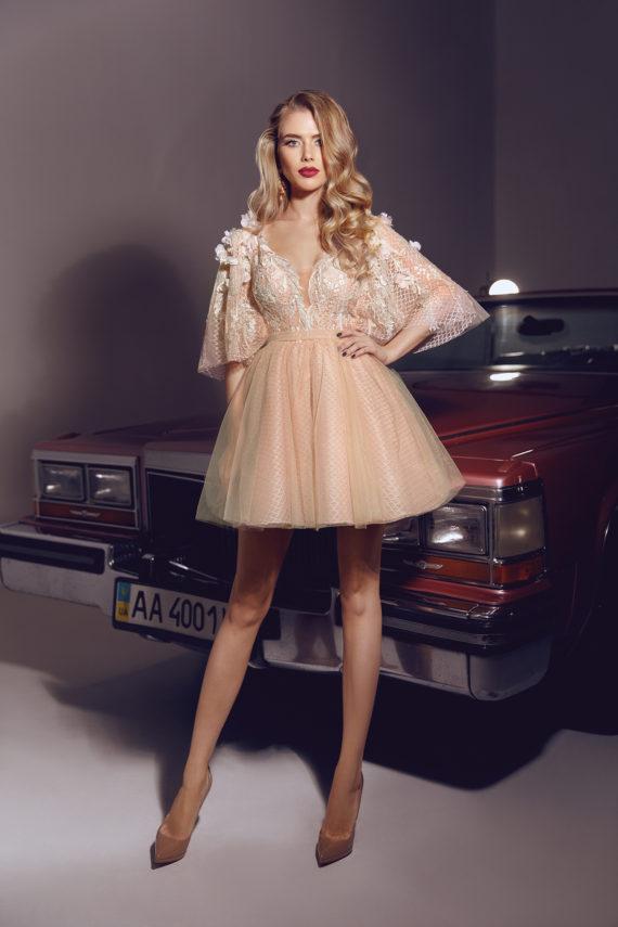 rochie cocktail rochie cununie civila pretioasa dantela 3D v18-14 sposa dell amore 2018