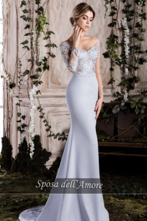 rochie de seara MAMA MIRESEI BLEO GRI 2018 crepe broderie cristale ed-005 L