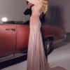 rochie de seara eleganta din catifea roz margele sposa dell amore 2018 2