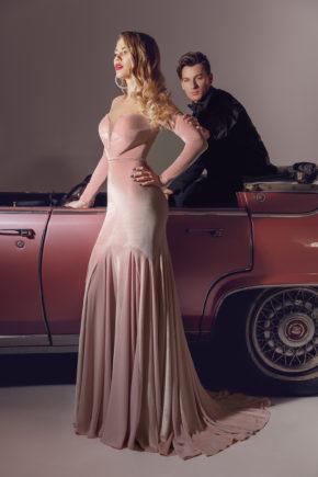 rochie de seara eleganta din catifea roz margele sposa dell amore 2018