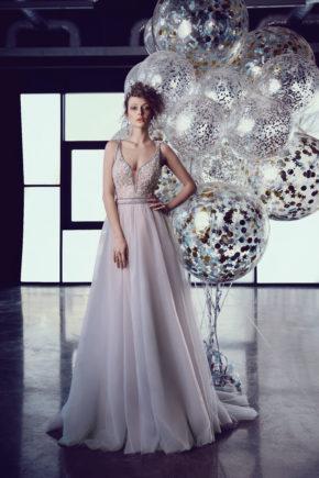 rochie de seara eleganta gri tull dantela broderie ed18 08