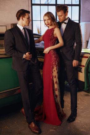 rochie de seara eleganta magenta grena crepe dantela 3D sposa dell amore sirena rochie soacra 2018