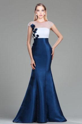 02180705a rochie de seara eleganta rochie soacra mama miresei albastra bleumarin alb sirena