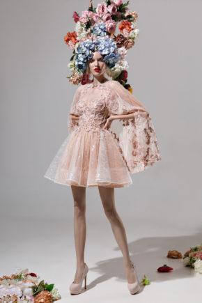 rochie cocktail rochie cununie civila sposa dell amore amarate crem nude flori 3D