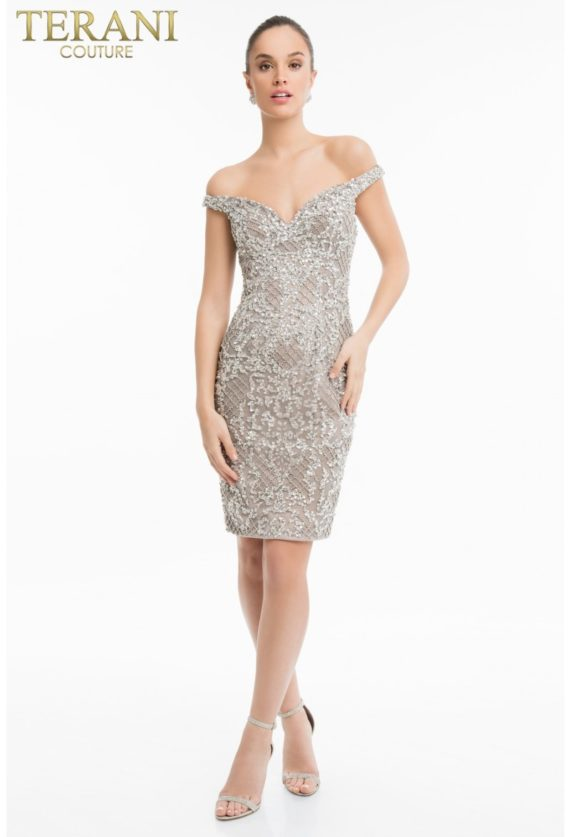 1821c7039_front rochie cocktail crem cristale margele rochie mama miresei rochie soacra rochie scurta