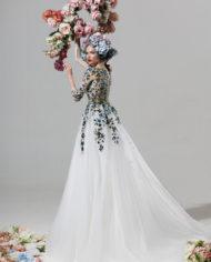 rochie de ocazie ivory flori verzi liatris sposa 1