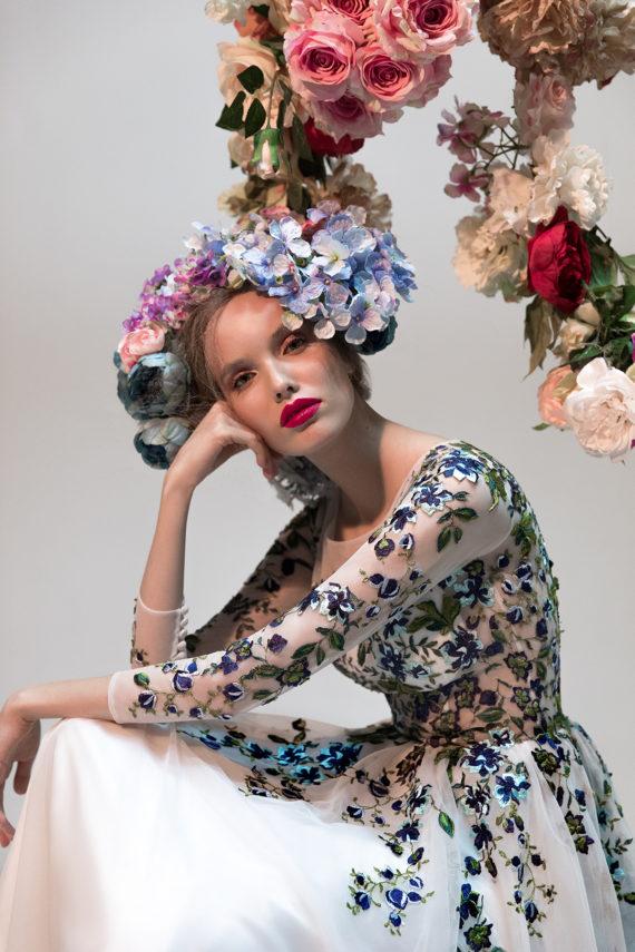 rochie de ocazie ivory flori verzi liatris sposa 5