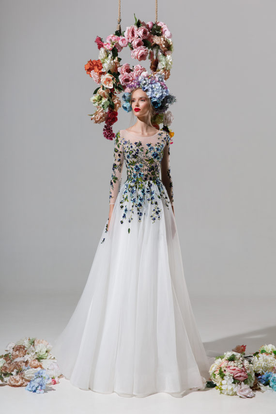 rochie de ocazie ivory flori verzi liatris sposa