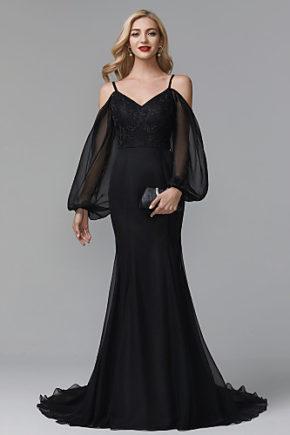rochie de seara rochie eleganta lunga neagra rochie mama miresei rochie soacra rochie umeri goi maneca lunga1528858957632