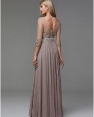 rochie de seara rochie soacra rochie mama miresei rochie gri bej rochie cristale aplicatii pe bust 1527682811528 5