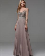 rochie de seara rochie soacra rochie mama miresei rochie gri bej rochie cristale aplicatii pe bust 1527682811528 9