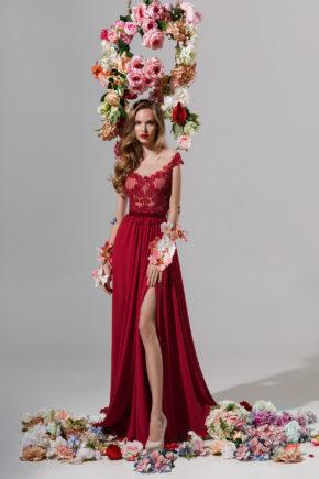 rochie de seara rosie sposa fresia dantela perle voal sifon 01