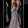 rochie eleganta rochie de seara rochie soacra mama mireseu argintie gri lubelia 2018 2