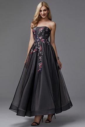 rochie de seara midi neagra flori 1528374843440