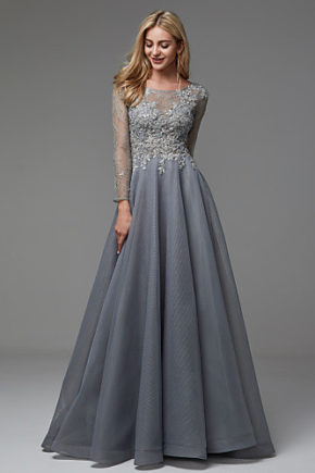 rochie eleganta de seara rochie de lux rochie gri rochie argintie organza maneci dantela 06664327 6