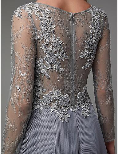 rochie eleganta de seara rochie de lux rochie gri rochie argintie organza maneci dantela 06664327 9
