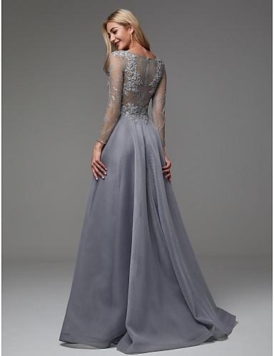rochie eleganta de seara rochie de lux rochie gri rochie argintie organza maneci dantela 06664327