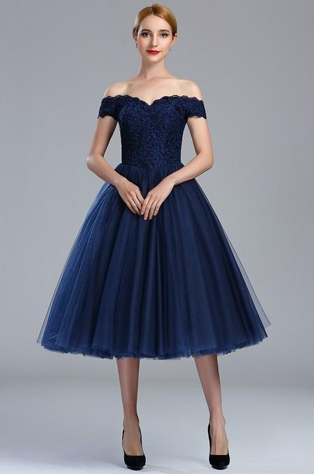 04173105d rochie cocktail midi rochie de ocazie de zi rochie de seara rochie bleomarin tul peste umeri l