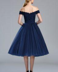 04173105d rochie cocktail midi rochie de ocazie de zi rochie de seara rochie bleomarin tul peste umeri p