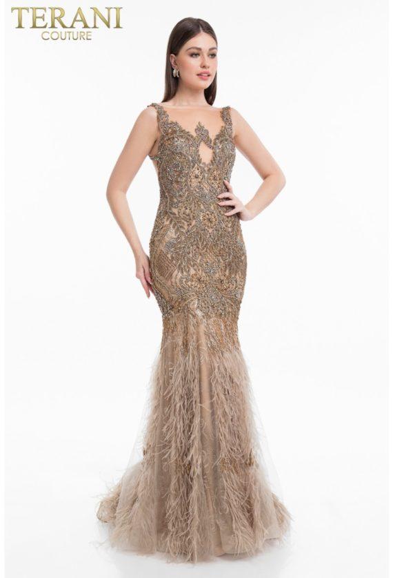 1821gl7423_champagne_back rochie de seara mama miresei aurie terani couture rochie de soacra rochie de nasa exclusivista pene 5