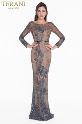 1822e7292_gunmetal_gold_front rochie mama miresei gri inchis rochie soacra rochie de lux dantela