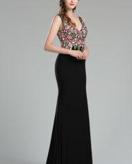 36180768a rochie de seara eleganta neagra broderie inflorata rochie de bal rochie spate gol