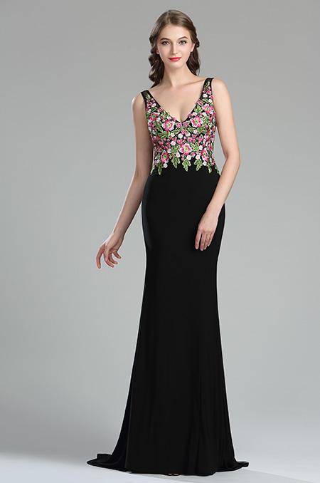 36180768a rochie de seara eleganta neagra broderie inflorata rochie de bal rochie spate gol l
