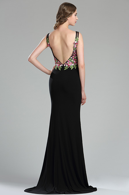 36180768a rochie de seara eleganta neagra broderie inflorata rochie de bal rochie spate gol p