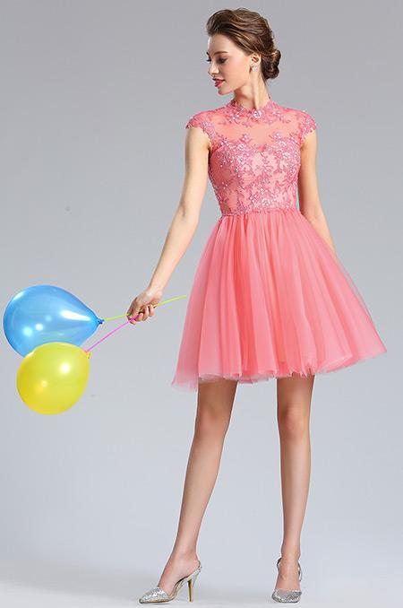 d04181457a rochie cununie civila corai rochie cocktail scurta rochie tul dantela corai
