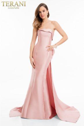 rochie de seara terani roz tafta 1821e7121_back 9