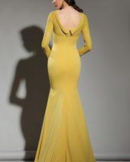 rochie mama miresei rochie de soacra rochie galben mustar crep dantela 02181703 9