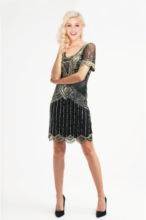ackelon29619748_22676 rochie cocktail margele aurii neagra rochie de petrecere negru auriu sposa 56