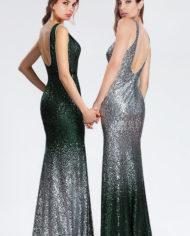 d02183004a rochie de seara eleganta rochie de bal verde degrade paiete argintie 6