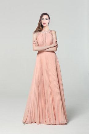 00190110 rochie de seara eleganta roz voal plisat rochie de ocazie rochie de nasa 2019