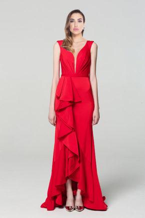 00190502a rochie de seara rosie red carpet voal decoletu v rpchie de nasa rochie de ocazie rochie eleganta