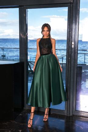 rochie de ocazie midi verde cu negru rochie de bal midi tafta sposa 2019369A6499