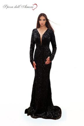 rochie de ocazie paiete neagra rochie sposa dell amore rochie unicat maneci rochie bal rochie de banchet 1207201825